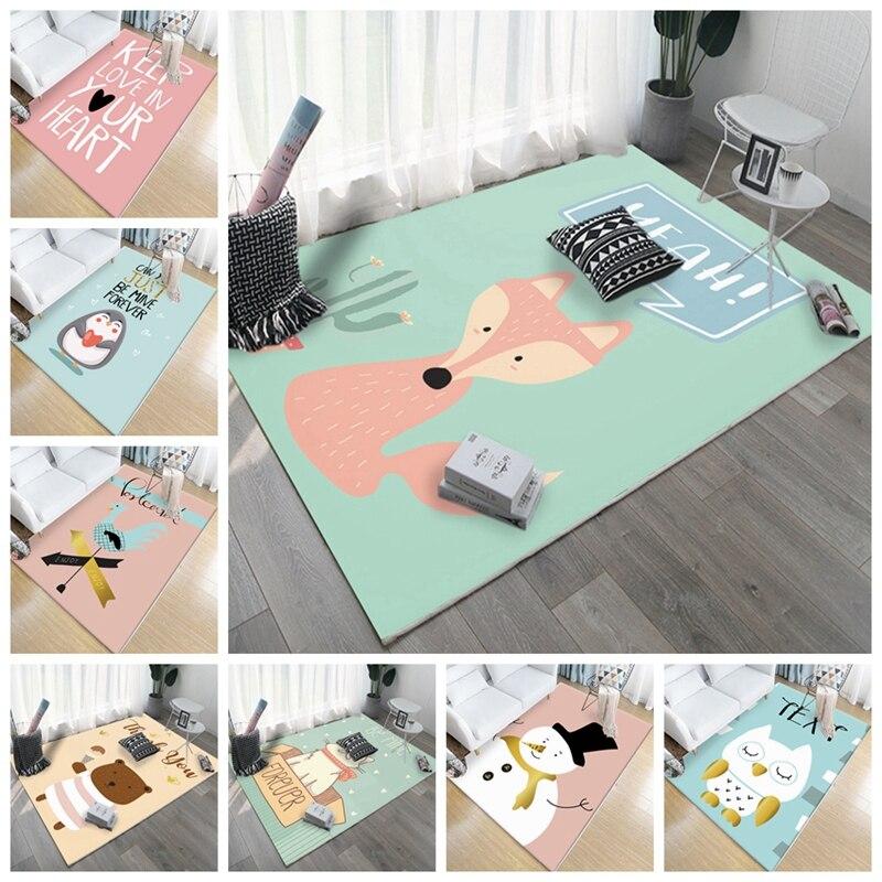 Bande dessinée renard hibou ours motif enfants tapis Style nordique enfants tapis pour salon chambre d'enfants jouer ramper tapis de sol