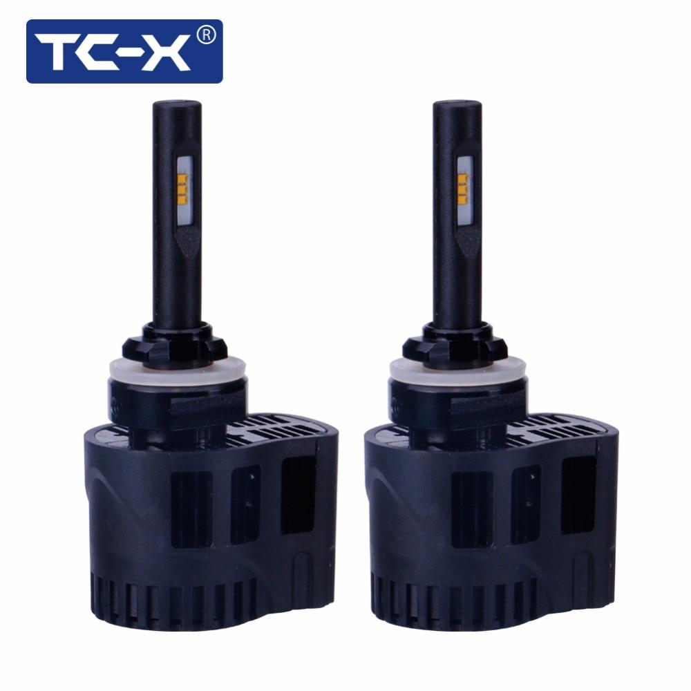 TC-X 2X 880 H27 Φώτα ομίχλης LED H11 9006 HB4 LED Φώτα αυτοκινήτου Fanless3000K Κίτρινη θερμοκρασία χρώματος