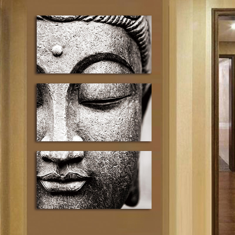 HTB18k19ovDH8KJjy1Xcq6ApdXXa0 Canvas painting Wall Art pictures Gray 3 Panel Modern Large Oil Style poster Buddha Wall Print Home Decor for Living Room