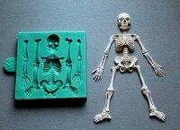 Squelette Halloween Silicone Moules Gâteau Décorant des outils Fondant gâteau moule