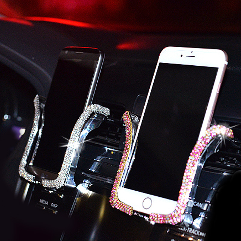 MUNIUREN Universal Car Phone Holder with Bing Crystal Rhinestone Car Air Vent Mount Clip Cell Phone Holder for iPhone Car Holder