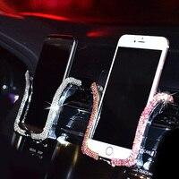 Soporte Universal para teléfono móvil de coche, con cristal de Bing, diamantes de imitación, montaje de rejilla de ventilación, Clip, para iPhone y Samsung