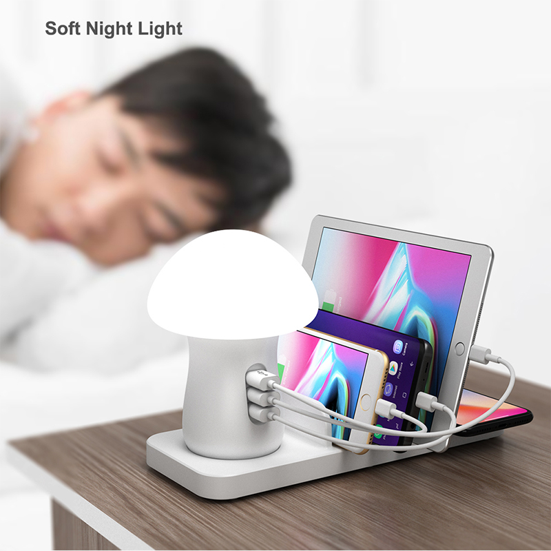 Image 5 - Leebote Multiple USB Phone Charger Mushroom Night Lamp Wireless Charging Station Dock QC 3.0 Quick Charger for Mobile Phones-in Mobile Phone Chargers from Cellphones & Telecommunications