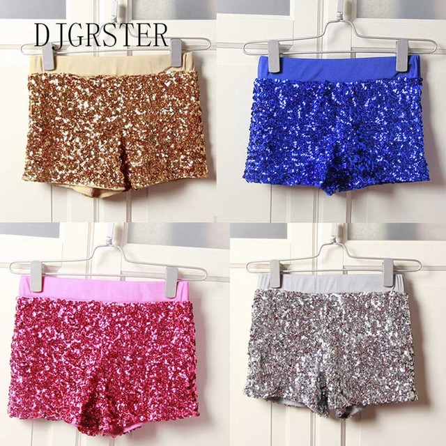 DJGRSTER Women Elastic High Waist Sequins Booty Shorts Silver Black Gold Red DS hip hop jazz Sparke Short 2018 new free shipping
