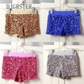 Women Elastic High Waist Sequins Booty Shorts Silver Black Gold Red DS hip hop jazz Sparke Shorts 2017 new free shipping