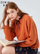 SEMIR Hoodies young fashion women long sleeve Korean version loose round neck early spring sweatershirt trend coat jacket