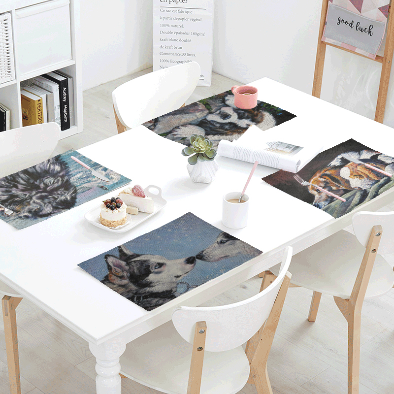 42*32cm Lovely Painted Golden Retriever French Bulldog Print Decoration Banquet Dinner Tablecloth Table Skirts Gift Table Napkin