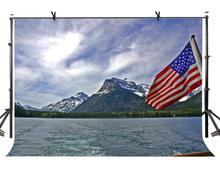 7x5ft Dark Clouds Backdrop Mountain Range and American Flag Photographic Background and Studio Photography Backdrop Props