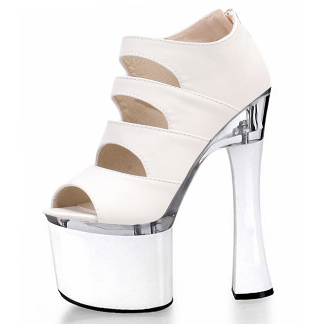 Sexy fish mouth hollow out 18 cm high stiletto sandals with white wedding bride shoes runways for women's Dance Shoes denim zipper hollow worn stiletto womens sandals