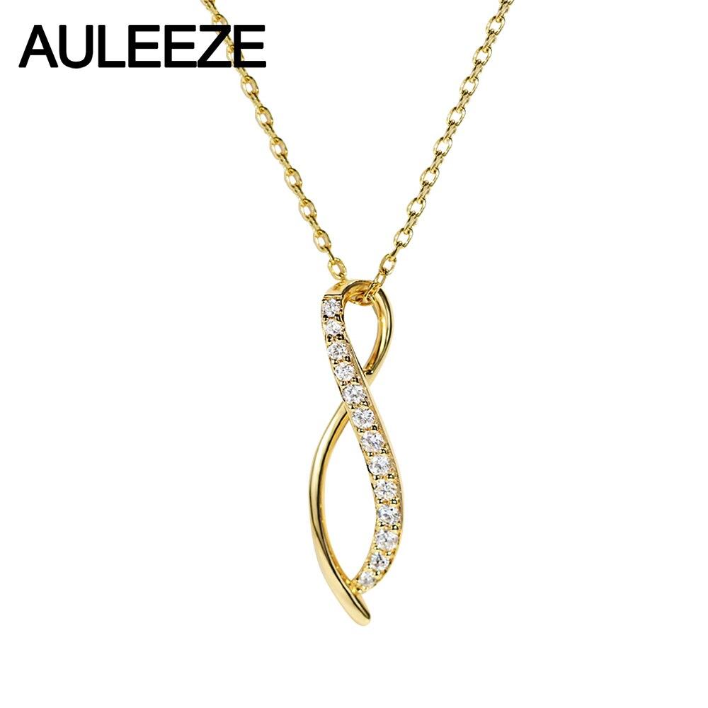 AULEEZE Подлинная 18 К желтый золотой бриллиантовый кулон ожерелье цепочка до ключицы офисная Дамская линия изогнутый кулон