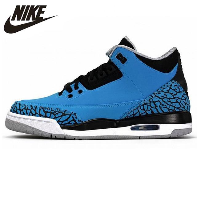 dd545a0509e98f Nike Air Jordan Retro 3 III Powder Blue Deep White Black Men s Basketball  Shoes Sneakers