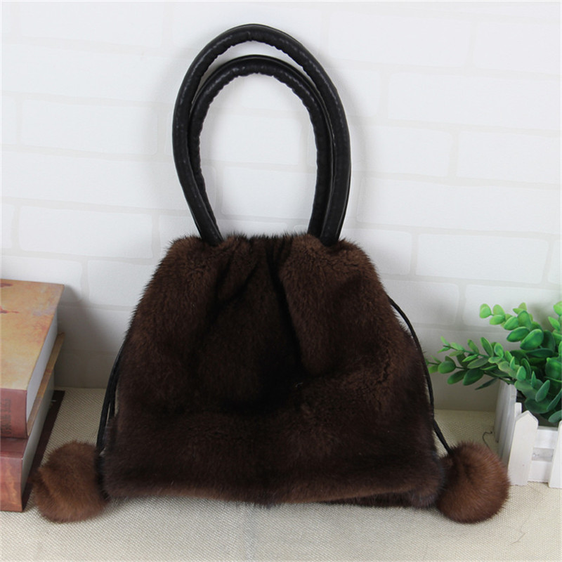 2018 fashion bag design mink fur drawstring bag high quality handbag female messenger bag mink leather bag B1 цена 2017