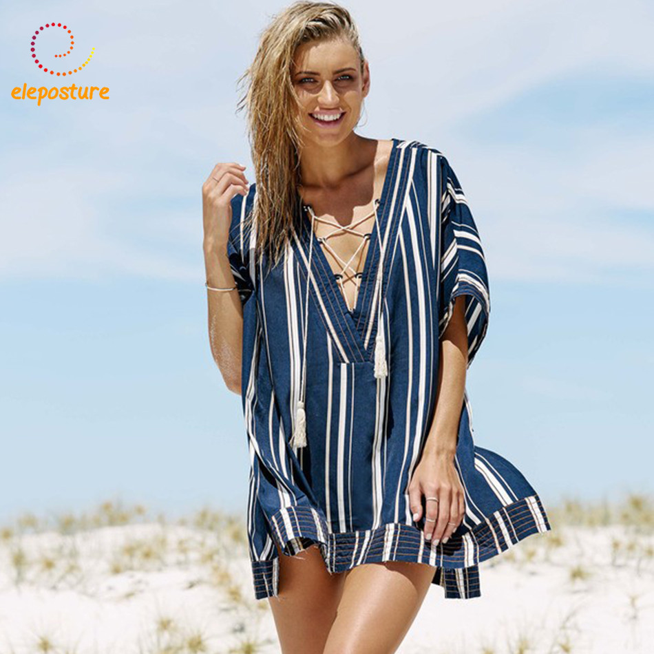 2018 Bandage Beach Cover Up Women Bikini Cover Up Beach Tunics Shirt Swimsuit Cover-Up Tassel Bathing Suits Cover-Ups Beachwear