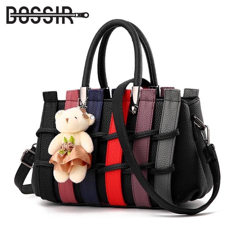 388591fb595 Γυναικεία τσάντες μόδας Patchwork μοτίβο Bear Διακόσμηση Pu Δερμάτινες  τσάντες Messenger ...