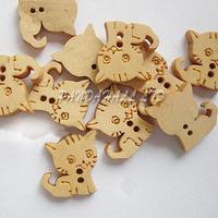 Кот Пуговицы с 2 отверстия, деревянный Пуговицы, blanchedalmond, около 16 мм, 15 мм широкий, 3.5 мм толщиной, 100 шт./пакет