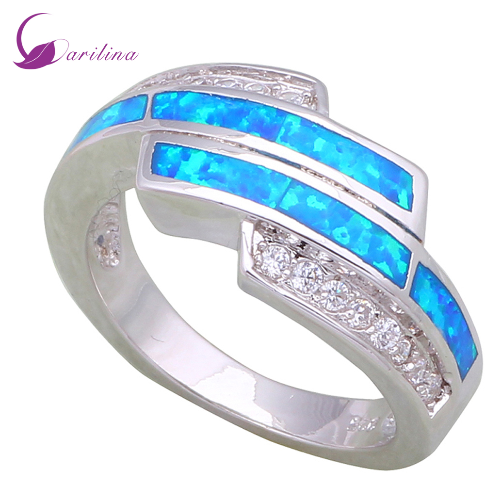 Garilina Latest Design Dame ringer White Cubic Zirconia blue Fire Opal 925 Sterling Silver R477