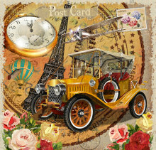 JOHNSON Vintage Paris Eiffel Tower Poster Clock Flower Backgrounds Vinyl Cloth