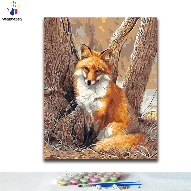 DIY Coloring Paint By Numbers Fox Sitting By The Tree Paintings By Numbers With Kits 40x50 Framed