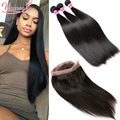 Peruvian Virgin Hair Straight With Frontal 360 Lace Frontal Closure With Bundles Cheap Straight Human Hair With Frontal Closure