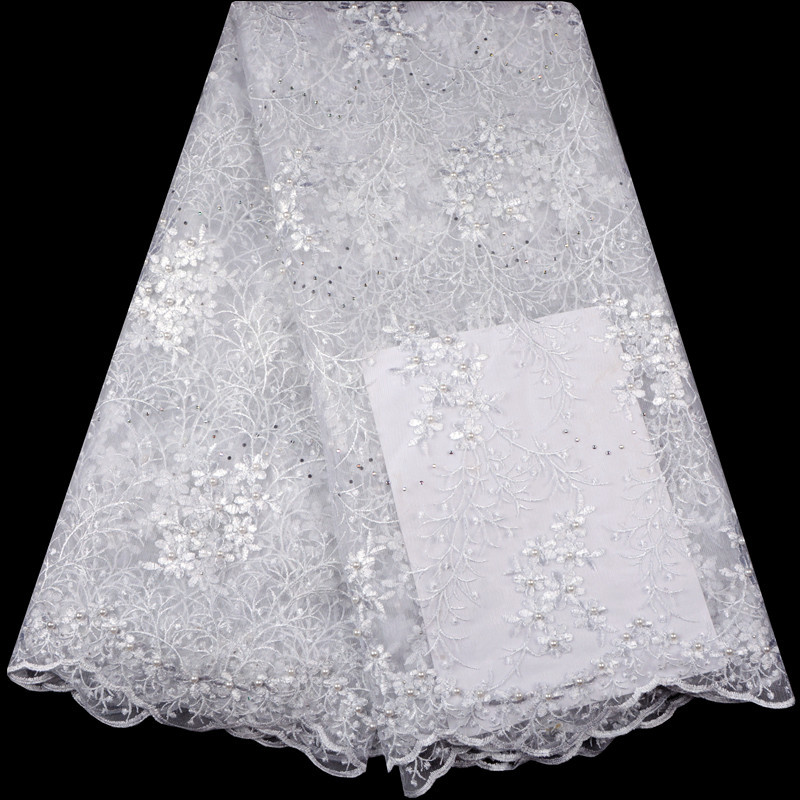white African Lace Fabric 2018 High Quality Lace Bridal Lace Fabric With Beads embroidery Tulle Mesh