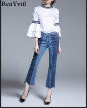 Renyvtil новая коллекция весна европа 100% хлопок высокой талии джинсы женские нерегулярные пят flare брюки свободные женщины моде джинсовые брюки