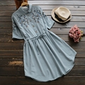 Japanese Women Sweet Flower Embroidered Drawstring Casual Cotton Linen Turn Down Collar Short Sleeve Female Dress Mori Girl U685