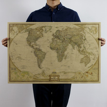 "Large Vintage ""World Map"" Home Decoration Detailed Antique Poster Wall Chart Retro Paper Matte Kraft Paper wall art 72x47cm"