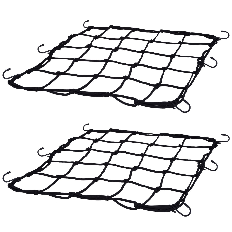2 Pack Elasticated Cargo Nets Bicycle Motorcycle Luggage Nets Helmet Nets with 12 Pack Metal Hooks Black