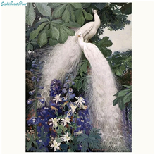 DIY5D diamond painting embroidery white peacock couple crystal icon 3D inlaid resin cross stitch decoration