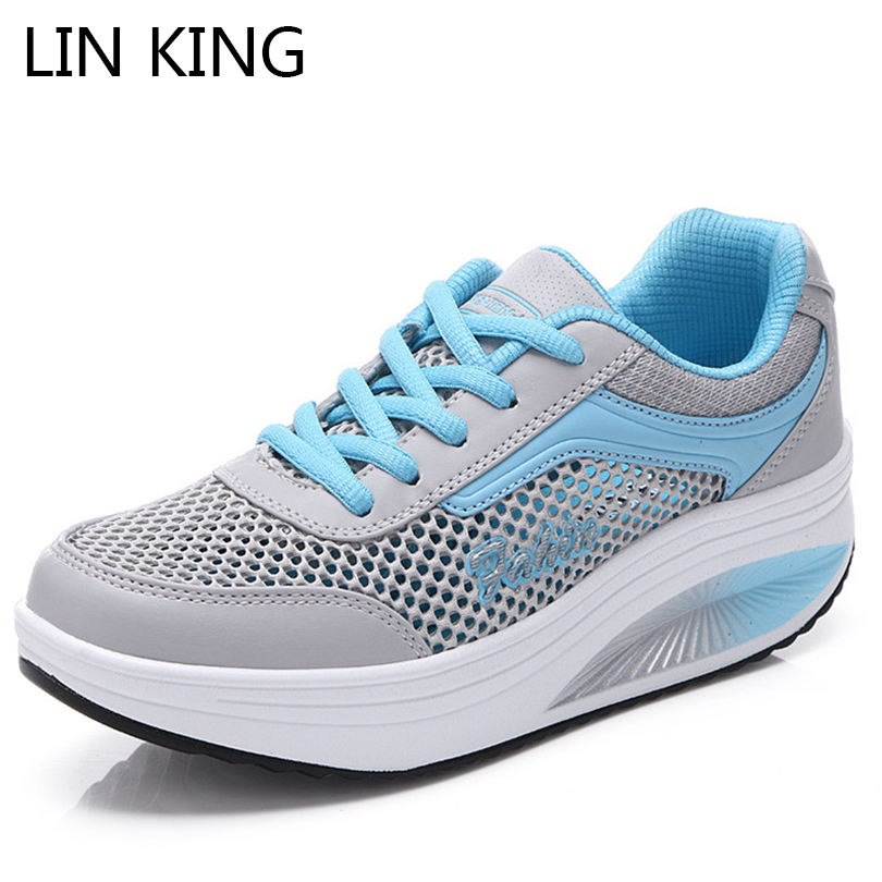 LIN KING Lace Up Women Summer Wedges Swing Shoes Air Mesh Pierced Thick Sole Travel Shoes Slim Height Increase Platform Shoes lin king thick sole women sandals retro rome gladiator sandals students thick sole platform shoes lace up summer beach shoes