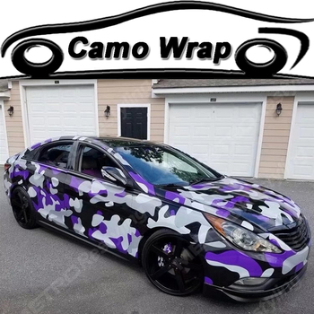 PVC Adhesive Black Puple Grey Vinyl Film With Air Bubble Camouflage Car Sticker Decal Motor Vehicle Wrapping Foil ORINO