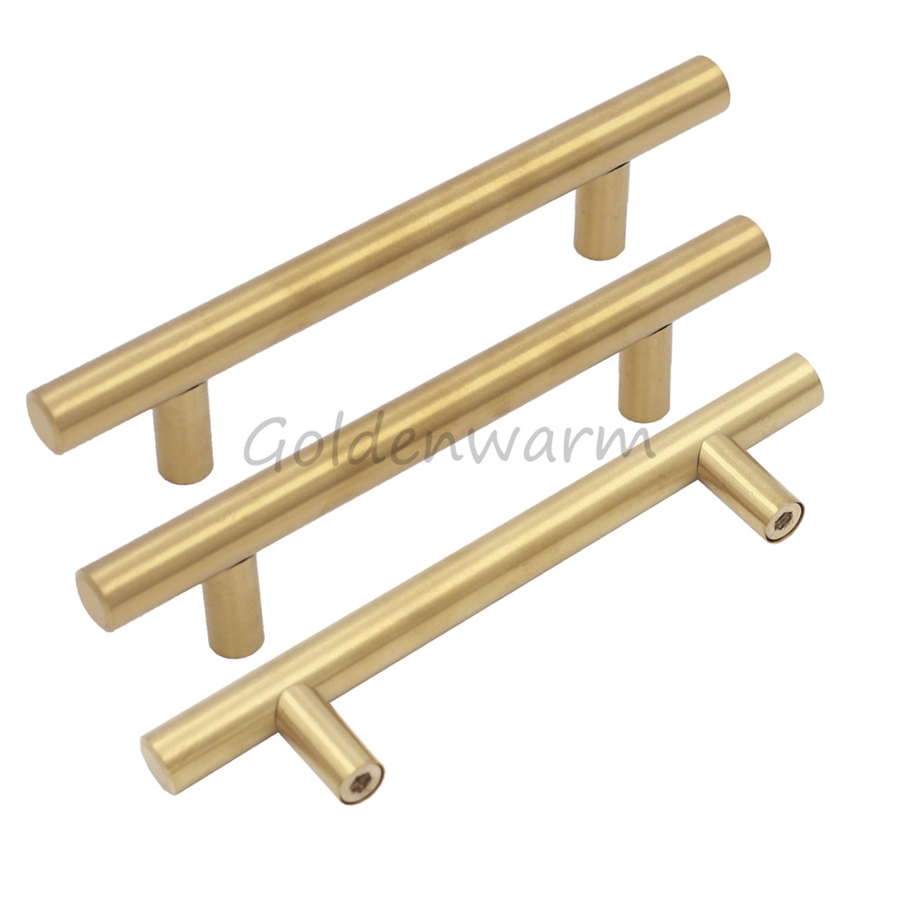 1 Piece Gold Stainless Steel Cabinet Handle Goldenwarm High Quality 3 inch 76mm Drawer Pulls Cupboard Kitchen Door knob push to open beetles drawer cabinet latch catch touch release kitchen cupboard new arrival high quality
