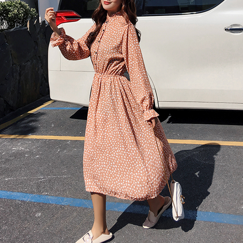 Women chiffon dress 2019 spring autumn female vintage print elegant a-line dress long sleeve loose casual office lady dress 3