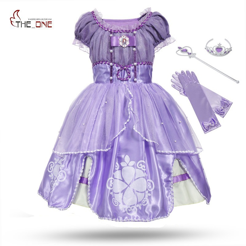MUABABY Princess Summer Dresses Girls Sofia Cosplay Costume 5 Layers Children Kids Halloween Birthday Party Tutu Dresses Fantasy