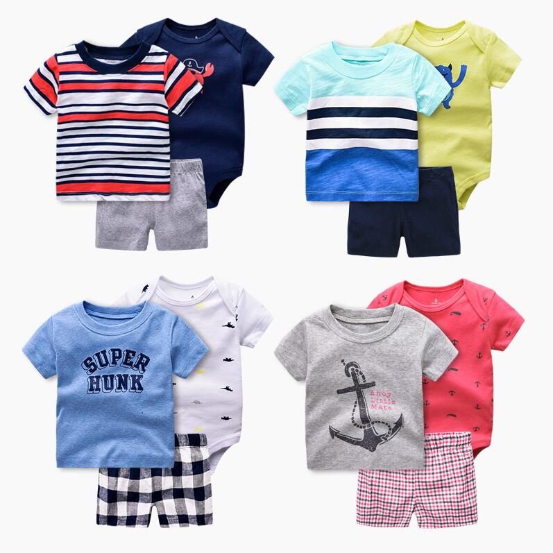 New summer 2017 baby boy clothing set kids boy clothes sets Sports costume T shirt + shorts infant boys clothes  Roupas Infantis