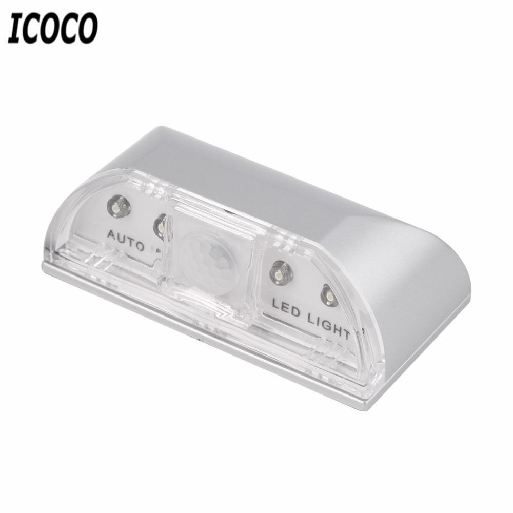 ICOCO 1pcs 4 LED IR Sensor Light Auto PIR Inframerah Home Door Wireless Keyhole Motion Detection security Pengesanan lampu suluh panas