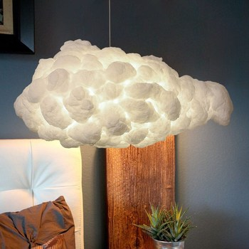 Creative Cloud Lamp Decoration Floating White Cloud Droplight Bedroom Children's Room Cafe Cotton Cloud Lamp фото
