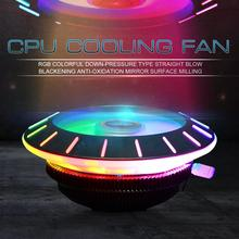Newest RGB Low Profile CPU Air Cooler with LED Lights Mute Copper Heat Column Technology Ring Fan for PC Computer