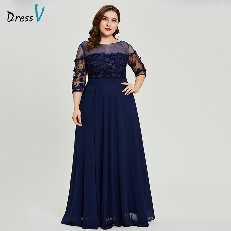 Dressv Dark Navy Plus Size Long Evening Dress Cheap A Line 3/4 Sleeves Wedding Party Formal Dress Appliques Evening Dresses