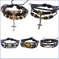 19 Items X Wing Love Cross Christian Bracelet Homme Leather Bracelet Femme Woven Bracelets for Women Braclet Pulsera Bijouterie