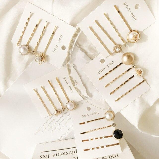 Modyle אופנה סימולציה פרל סיכות עבור נשים בנות מתנות 2019 Vintage זהב צבע אינסופי שיער קליפים תכשיטי Hairwear