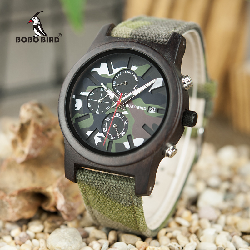 Saat erkek Man Watches Wooden Men Quartz Jungle Camo Camouflage BOBO BIRD Wristwatches Japanese Show Date Week Canvas Strap