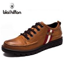Blaibilton винтажные Классические 100% натуральная кожа роскошные оксфорды Мужская обувь модные полосатые повседневные мужские туфли дизайнерские коричневые 4177