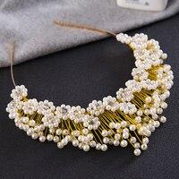 New Design Bride Hair Jewelry Baroque Handmade Pearl Beaded Luxury Tiara Princess Crown Wedding Hair Accessories
