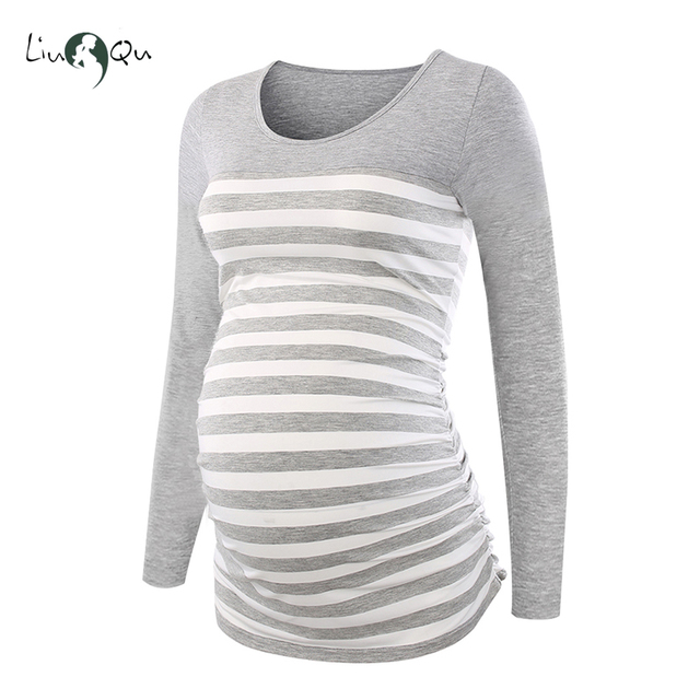 Long Sleeve Pregnancy Blouse Side Ruched Maternity Clothes Striped Patchwork Mama Top O neck Pregnant Clothes for Women Tops 3