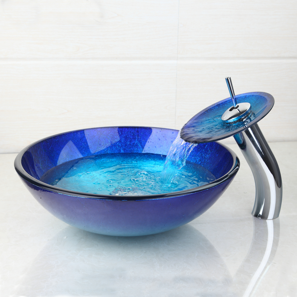 Tempered Glass Victory Hand Painting Artistic Color Basin Sink ...