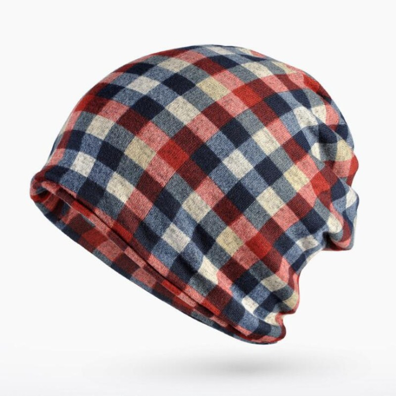 Apparel Accessories Temperate Seioum Plaid Turban Hat Female Winter Hats For Women Men Beanie Cotton Knitted Cap Ponytail Hat Ear Protect Gorro Feminino Colla
