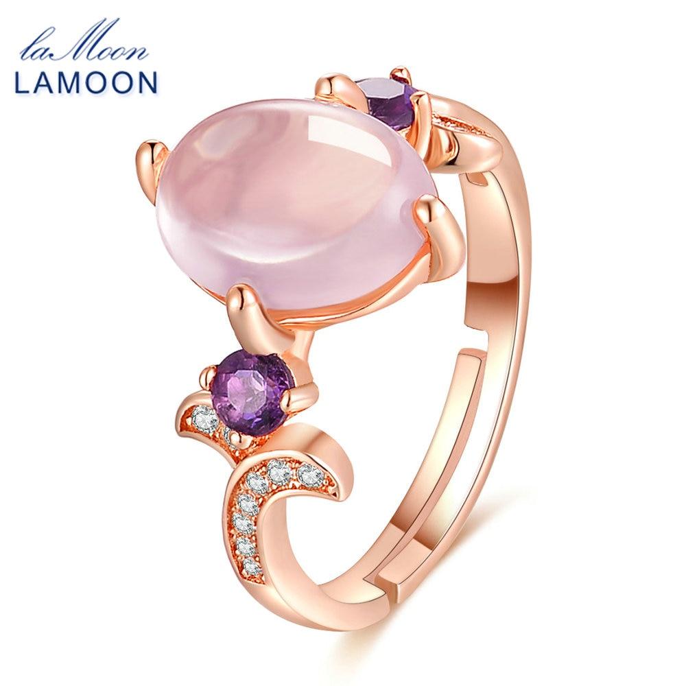 Lamoon Rose Gold Princess Pink Rings For Women 8x10mm 100% Natural Oval  Rose Quartz 925