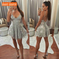 glitter Silver Mint Cocktail Dresses 2019 Sexy Cocktail Dress Women Prom Scoop Sequined Backless Slim Fit Banquet Party Gown New