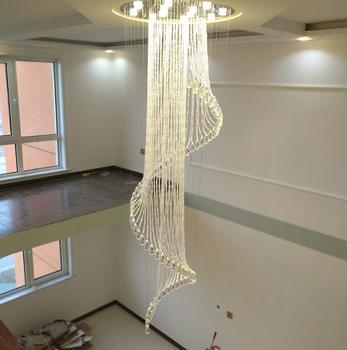Moderne trap kristallen kroonluchter Duplex floor Europese stijl roterende villa medium kristallen kroonluchter